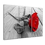 Kunstdruck - Rose Steg - Bild auf Leinwand - 120x80 cm 3tlg - Leinwandbilder - Geist & Seele - Pflanzen - Blumen - rote Rose - Symbol