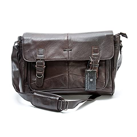 Men's Soft Leather Satchel / Shoulder Messenger Bag with Adjustable