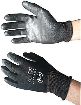 PWS - 12 paia di guanti in nylon rivestito di poliuretano, colore: Nero, 9/Large