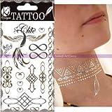 Tatuaggio Temporaneo Chic Oro e Argento, infinito, Tagliere wak-026: 15,5x 9,5cm