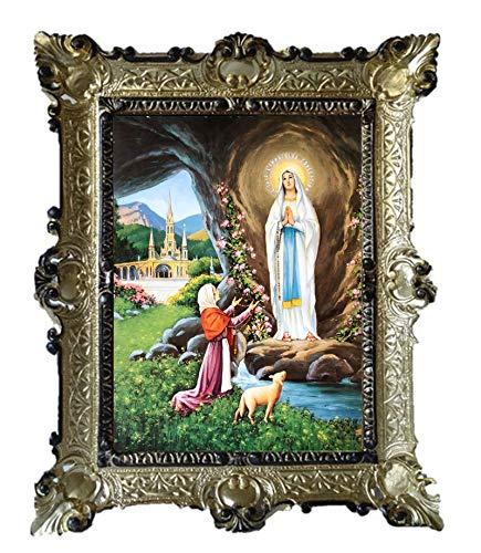Lnxp Gemälde Tuerca Maria Lourdes Virgo Virgen ikonen Sagrada Cuadro con Marco 56x 46cm Religioso imágenes Virgen María de