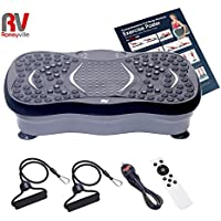 Roneyville Ultra Compact Thin Vibration Power Plate with USB & Bluetooth Music Player & Magnetic Therapy– Crazy Fit Style Slim Massage Fitness Oscillating Vibro Plate Mini - 2500w Peak Power Silent Drive Motor, 199 Speed, 5 Exercise Programmes, 2 x FREE Spring Power Cords, Free Exercise Poster