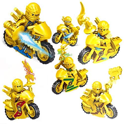 New Brand 6 pcs/Set Ninja Gold Motorcycle Building Block Figures Toys Quality Action Toys Ninja Gold Figuren