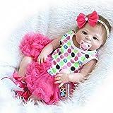 nkol Full Silikon Körper Reborn Puppen lebensecht Neugeborene realistisch Baby Puppe mit Pfirsich Tutu Rock (Magnetic Mund, wasserdicht), 55,9cm 57cm anatomisch korrekt Toys