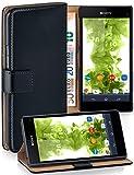 MoEx Cover a Libretto Compatibile con Sony Xperia Z1 Compact | Fessura Carta + Soldi, Supporto, Nero