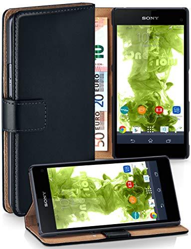 moex® Booklet mit Flip Funktion [360 Grad Voll-Schutz] für Sony Xperia Z1 Compact | Geldfach und Kartenfach + Stand-Funktion und Magnet-Verschluss, Schwarz