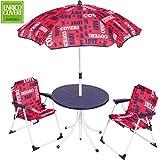 Enrico Coveri Collection Set da Giardino per Bambini Composto da Tavolino, Ombrellone e 2 sedie Pieghevoli - Colore: Rosso