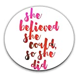 Kitchen & Housewares : She Believed She Could So She Did Custom Stainless Coaster| Add A Stylish & Custom Protective Layer To Serve Coffee, Tea & Drinks On Your Tables| Premium Quality Serveware Accessories By Hamerson