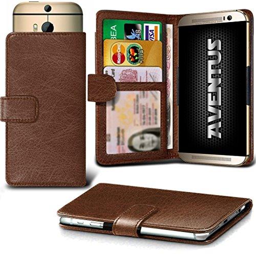 Aventus (Brown) HTC Desire 620G Dual Sim Premium-PU-Leder Universal Hülle Spring Clamp-Mappen-Kasten mit Kamera Slide, Karten-Slot-Halter und Banknoten Taschen