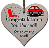 Handmade Wooden Hanging Heart Plaque Gift to Congratulate New Drivers Passed Driving Test Celebrate