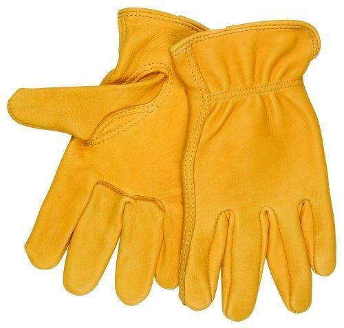 MCR Sicherheit 3501Satinband M Regular Grade Getreide Hirschleder selbst gesäumt Treiber Handschuhe mit Keystone Daumen, gelb, Medium, durch MCR Sicherheit - Treiber Keystone