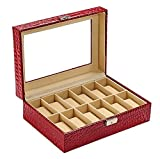 #10: House of Quirk 12 Slot Watchbox PU Leather Watch Organizer (Transparent Lid) - Maroon