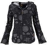 Guru-Shop Goa Patchwork Jacke, Boho Kapuzenjacke, Damen, Schwarz, Baumwolle, Size:XL (44), Boho Jacken, Westen Alternative Bekleidung