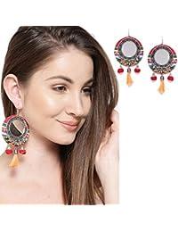 Yellow Pom Pom Mirror Tassel Earrings for Women and Girls