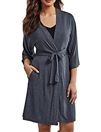 DKNY Women's 7 Easy Pieces 3/4 Sleeve Robe Dressing Gown