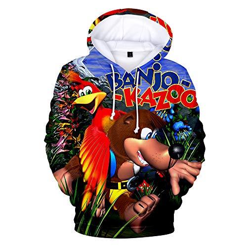 Denkqi Unisex 3D Druck Hoodie Kapuzenpullover Langarm Sweatshirt Kapuzenjacke Mit Tunnelzug Pullover Taschen Top Shirt Weihnachten Herbst Banjo Kazooie Nuts and Bolts XXL -