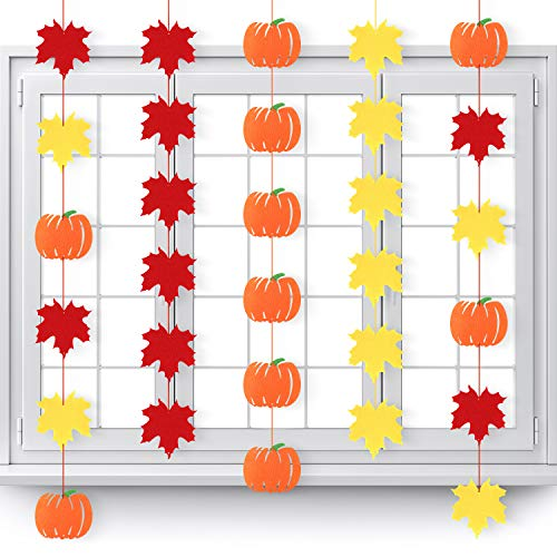 9 Packungen Ahornblätter Girlande Banner Kürbis Hänge Girlanden Herbst Herbst Filz Girlanden mit Band für Erntedankfest Halloween Party Dekoration