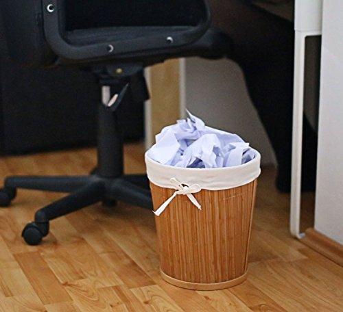 Papierkorb aus Bambus mit Stoffeinlage - 2