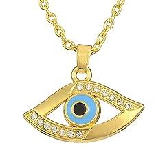 Idea Regalo - Dawapara, ciondolo egiziano con occhio di Horus, con cristallo, di colore dorato, gioiello porta fortuna, regalo, da donna