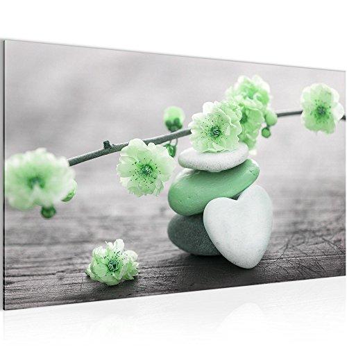 Bild Feng Shui Blumen Wandbild Vlies - Leinwand Bilder XXL Format Wandbilder Wohnzimmer Wohnung Deko Kunstdrucke Grün Grau 1 Teilig - MADE IN GERMANY - Fertig zum Aufhängen 500114b