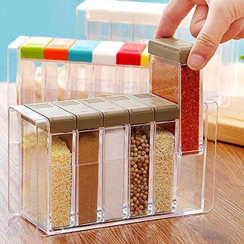 1 set di 6 barattoli colorati porta spezie e condimenti, in acrilico, da  cucina