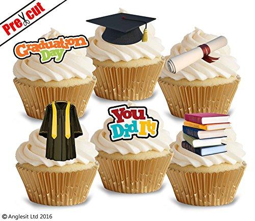 (vorgeschnittenen Graduierung Tag essbarem Reispapier/Wafer Papier Cupcake Kuchen Topper Party Feier Dekorationen)