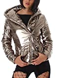 Voyelles Damen Jacke Kapuzenjacke Metallic Glanz Look, Gold, Gr. 36/S (HG: M)