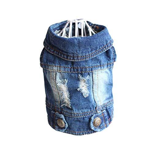 7cm Store Haustier-Kleidung Designer Hunde-Bekleidung für kleine Hunde Coole Jeans-Jacke für Denim-Mantel-Hundeausstattung für, Deep Blue Denim, L -