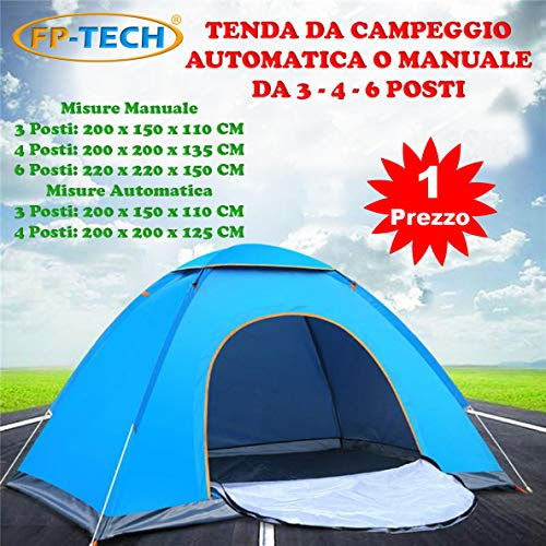 Fp-tech tenda da campeggio 3 4 6 posti persone canadese automatica igloo gazebo sacca (tenda 3 posti automatica)