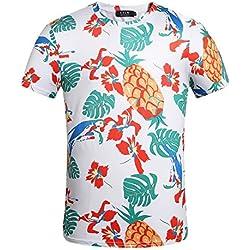 SSLR Camiseta Hawaiana Hombre Manga Corta Funny Aloha Tropical Flores y Piña (Small, Blanco)
