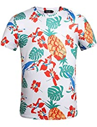 SSLR Men's Funny Crew Neck Short Sleeve Casual Tropical Hawaiian T-Shirt
