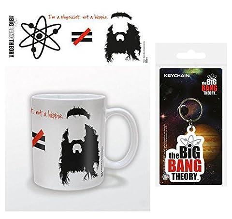 Set: The Big Bang Theory, Je Suis Physicien Pas Hippie, Équasion Tasse À Café Mug (9x8 cm) Et 1 The Big Bang Theory, Porte-Clés (6x4 cm)