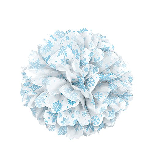 Unique Party Supplies 35 cm Winter Schneeflocken Seidenpapier Pom Pom (Winter Supplies Party)