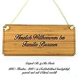 Mr. & Mrs. Panda Türschild Nachname Brauner Classic Schild - 100% handgefertigt aus Bambus Holz - Anhänger, Geschenk, Nachname, Name, Initialien, Graviert, Gravur, Schlüsselbund, handmade, exklusiv