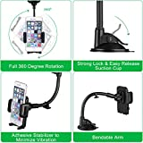 Car Mount, Mpow Grip Flex Universal Windshield Car Phone Holder/Car Cradle with Extra Dashboard Base and Dual Strong Suction for iPhone 7/7 Plus/6s Plus/6s/5/5c/5s/SE, Samsung S6/S5 Note 5/4/3, HTC, Sony, LG and Other Smartphones, GPS Devices