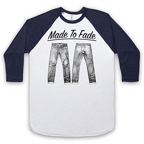 Made To Fade Denim Jeans 3/4 Hulse Retro Baseball T-Shirt Weis & Ultramarinblau