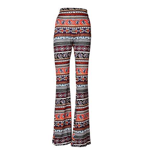 Jiayiqi Womens Boho Stretchy Bell Bottom Flare Pants Floor Length