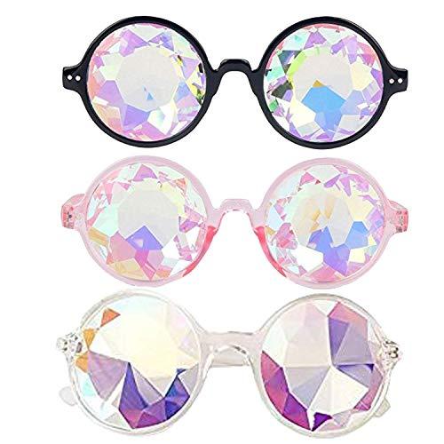 Wohlstand Kaleidoskop Gläser,Kaleidoskop Brille 12 * 14 cm,Regenbogen Kristall Linsen,Rave, Cool,Festival, edm, Lichtshow, Wurmloch Prisma Diffraktion Brille-3 stück(schwarz, pink, transparent)