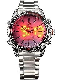 Tiburón de cuarzo Digital de los hombres doble movimiento LED pantalla banda de acero inoxidable reloj deportivo