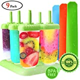 GeMoor Ice Lolly Moulds Set with Loading Funnel Plus Silicone Popsicle Molds (9pack)