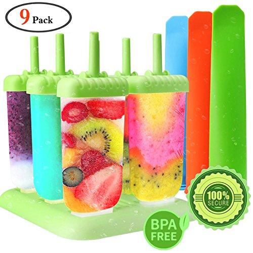 GeMoor Stieleisformer Set Silikon BPA Frei Eis Formen - 6 Stück Eis am Stiel und 3 Stück Eislutscher Formen für Kinder und Erwachsene (Joghurt Behandelt)