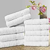 #1: Story@Home Solid 10 Piece 450 GSM Cotton Face Towel Set - White