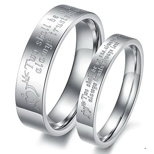 "Scorpios Fashion Jewelry ""Two Shall Be As One. Always Protects. Always Trust. Always Love"" Stainless Steel Promise Couple Ring- Female Ring Size N 1/2"