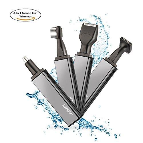 Tagliapeli per naso e orecchie trimmer sets, 4 in 1 ricaricabile naso trimmer/naso orecchio trimmer/regola barba/basetta trimmer/sopracciglia trimmer per uomini e donne elettrico di rasoio