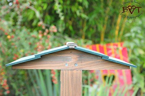 Vogelhaus,groß-XXL,DACH DUNKEL-GRÜN / Vogelhaus,wetterfest IN ANTHRAZIT (SCHWARZLASUR),HI-VIERDAORI-at001 NEU ,Vogelhäuser+Vogelhausständer KLASSIK-PREMIUM Vogelhaus,Vogelfutterhaus, Vogelfutterhaus MIT-Futterstation Farbe schwarz lasiert,anthrazit / Holz natur,Ausführung Naturholz MIT WETTERSCHUTZ-DACH - 3