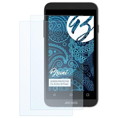 Bruni Schutzfolie für Archos 40 Power Folie, glasklare Bildschirmschutzfolie (2X)