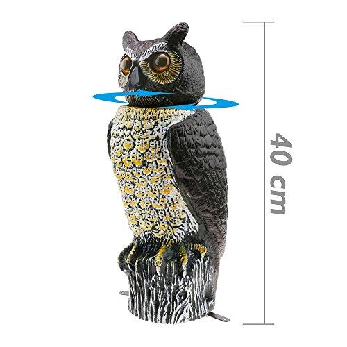 Ahuyentador de aves tipo estatua búho con ojos reflectantes 40cm