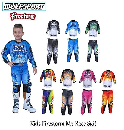 Motorrad Wulf Firestorm Kids Race Anzug mit 2018Motocross Quad-Off-Road Trials Enduro Kart MX ATV MTB DIRT BIKE, Set Sport Jungen Hose T-Shirt, Orange, 3-4 years With Waist 20 (Fade-jungen-t-shirt)