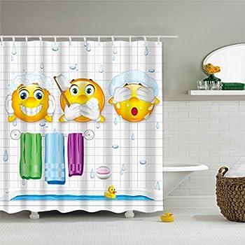 Gwell rideaux de douche imperm able emoji expression anti - Anti moisissure salle de bain ...