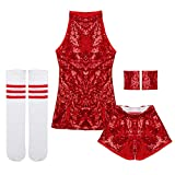 c7f2ca821032d Freebily 4pcs Enfant Fille Justaucorps Gymnastique Danse Haut Short Tenues  Vêtement de Danse Hip-Hop